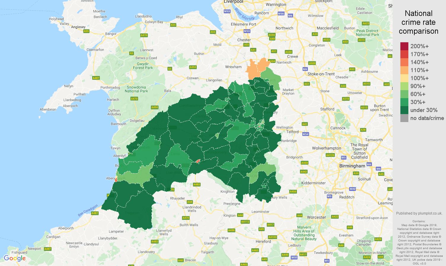 Shrewsbury public order crime rate comparison map