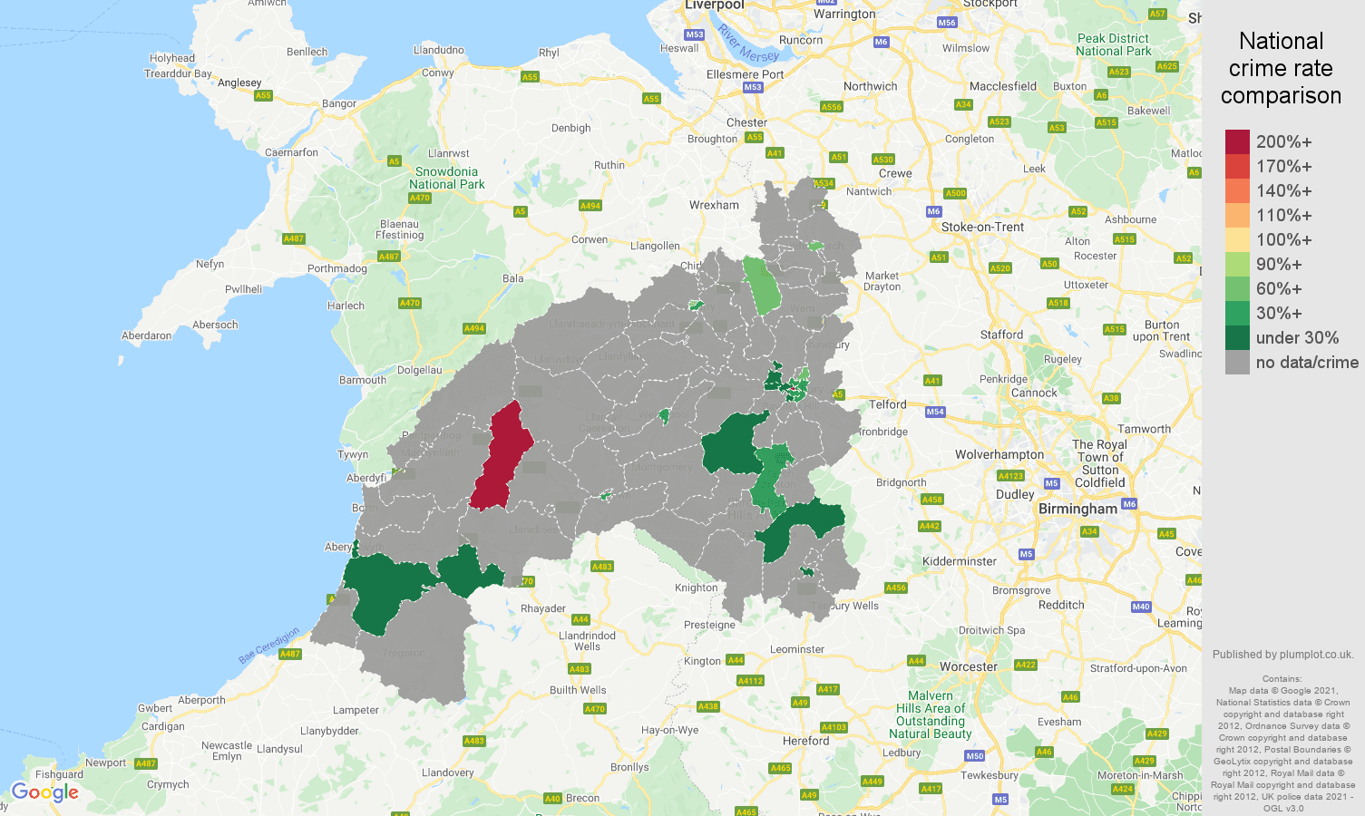 Shrewsbury theft from the person crime rate comparison map