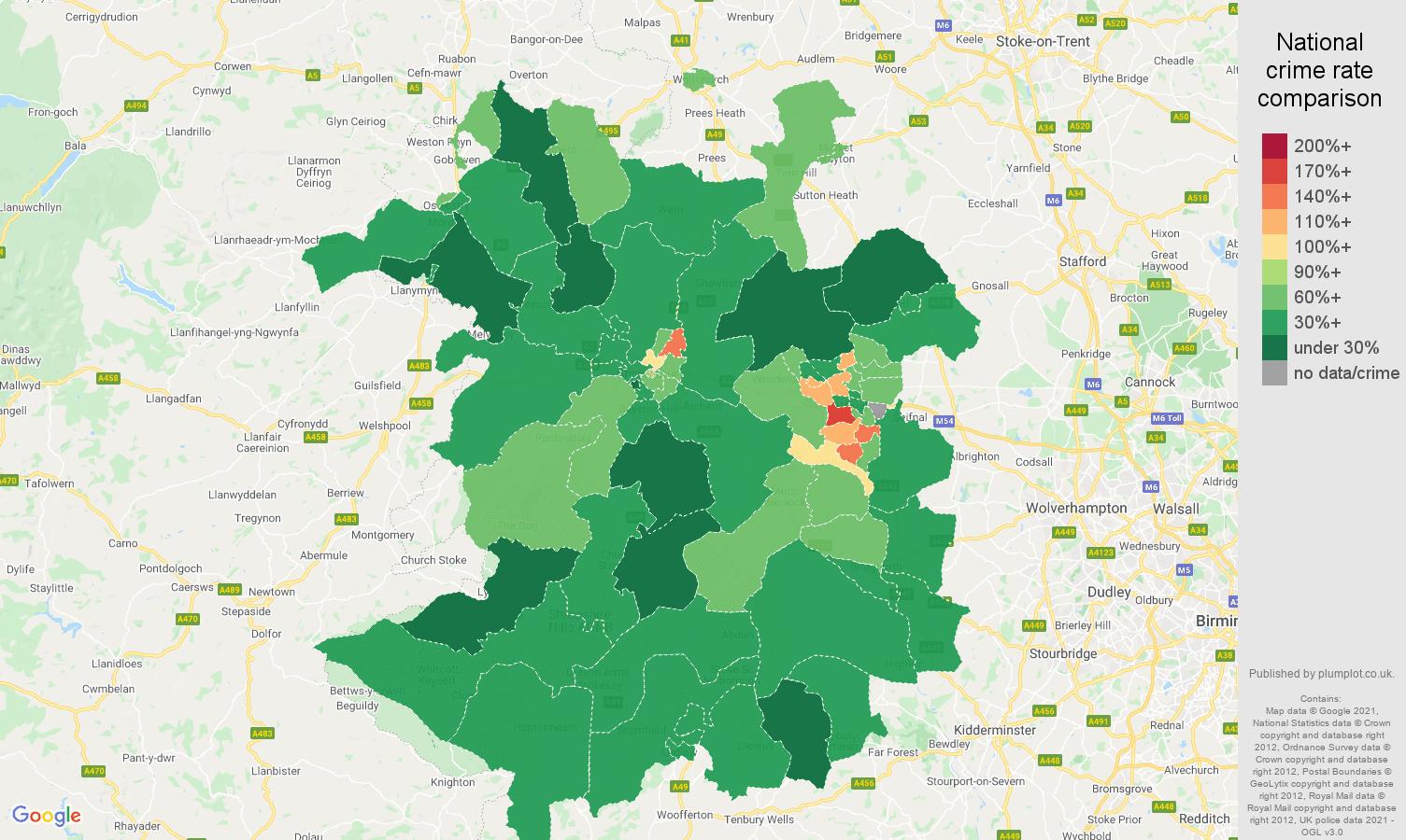 Shropshire antisocial behaviour crime rate comparison map