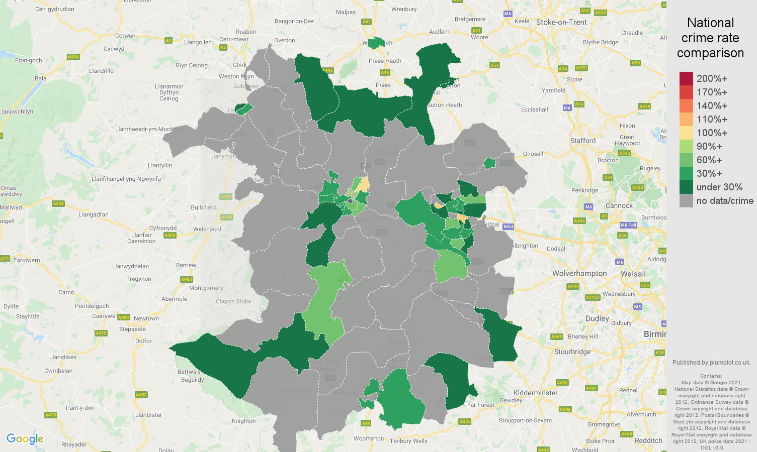 Shropshire bicycle theft crime rate comparison map