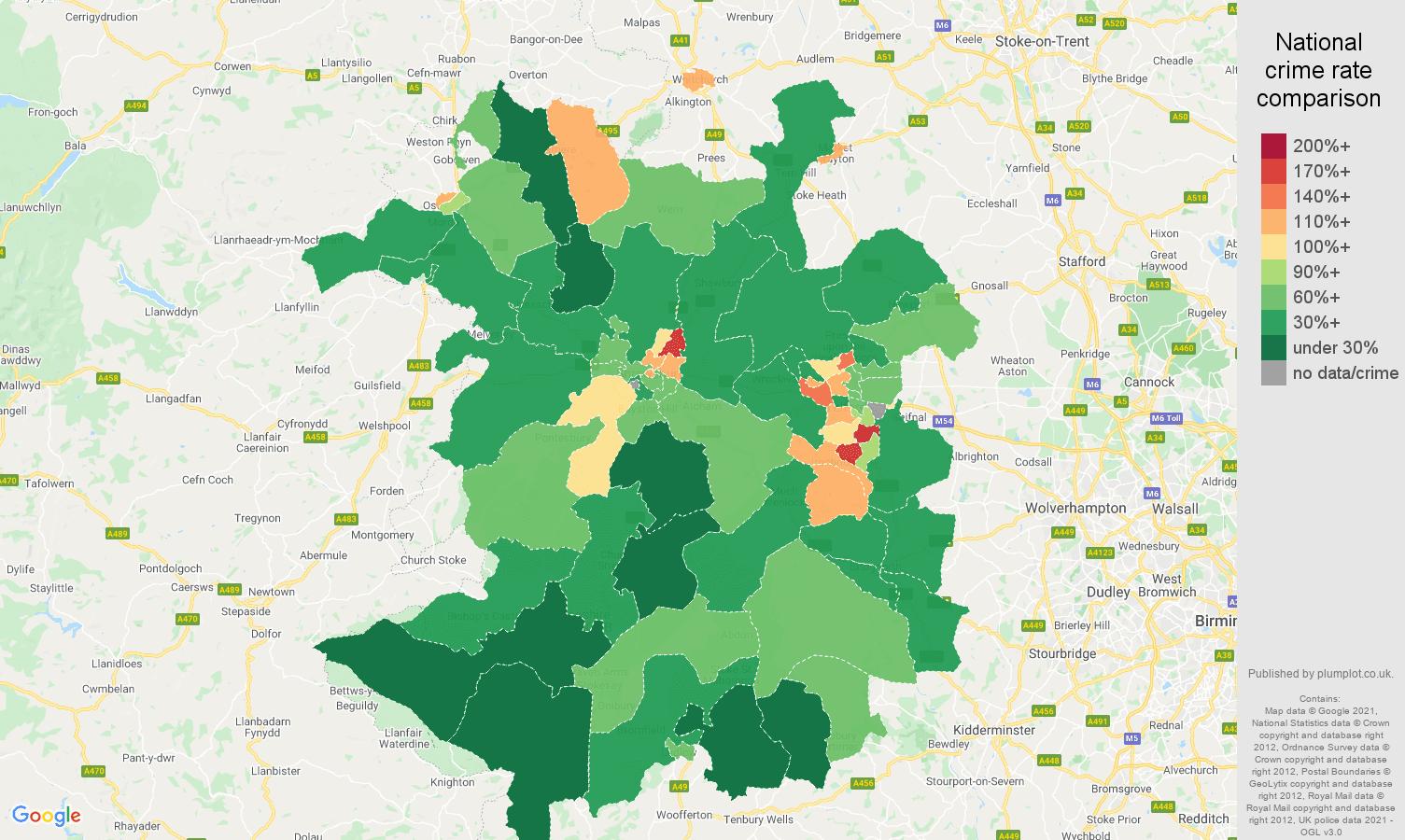 Shropshire criminal damage and arson crime rate comparison map