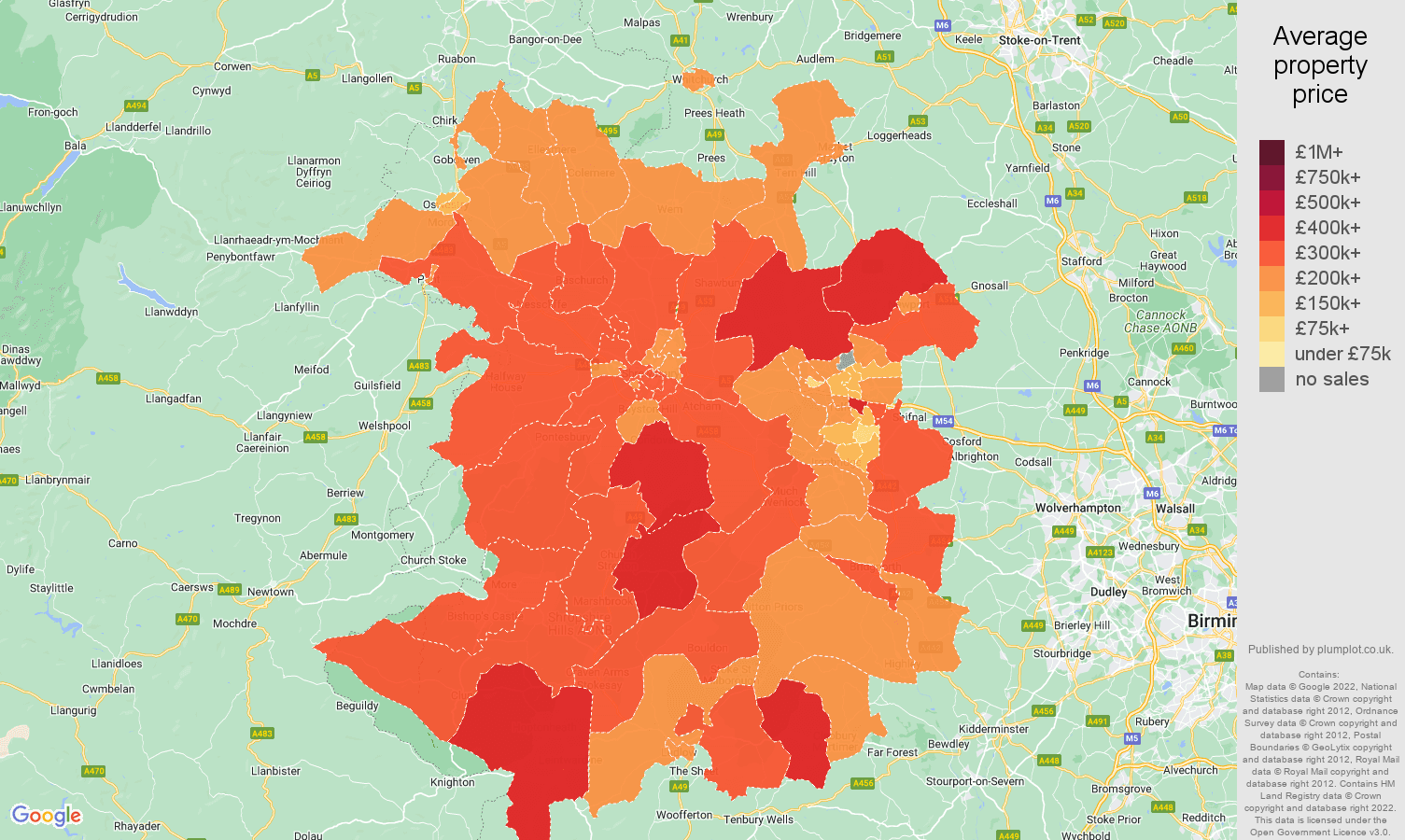 Shropshire house prices map
