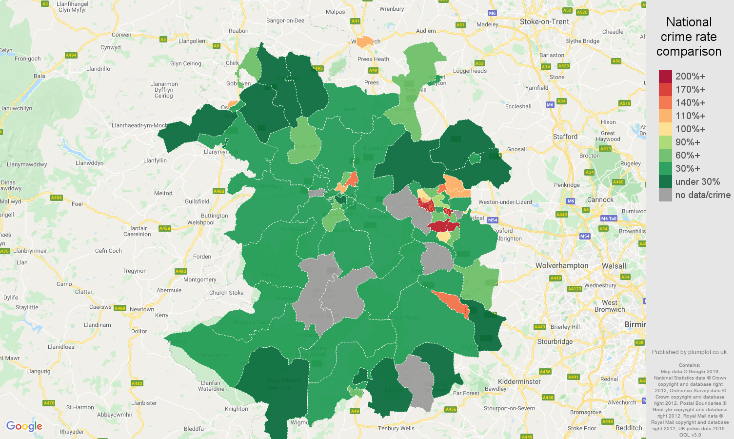 Shropshire other crime rate comparison map