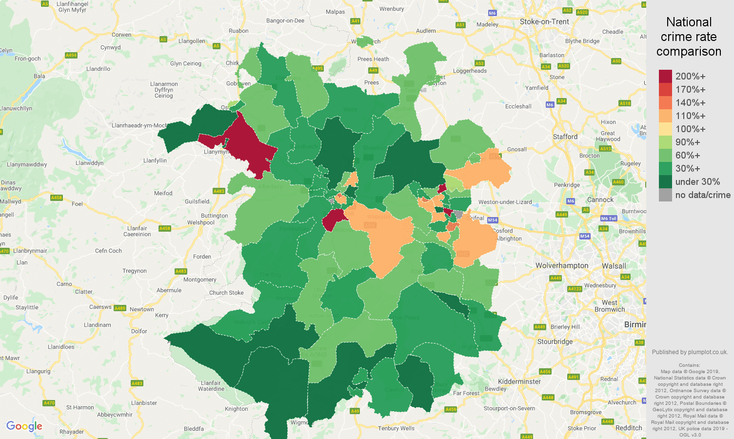 Shropshire other theft crime rate comparison map