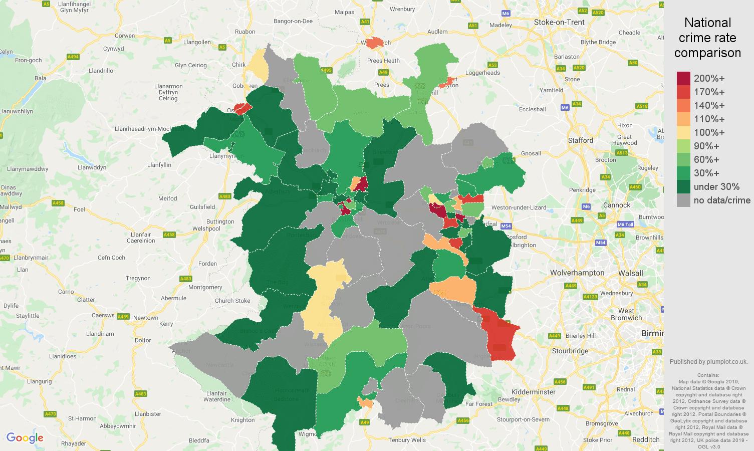Shropshire shoplifting crime rate comparison map