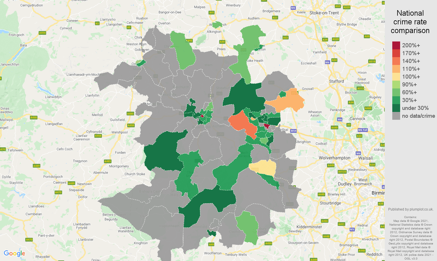 Shropshire theft from the person crime rate comparison map