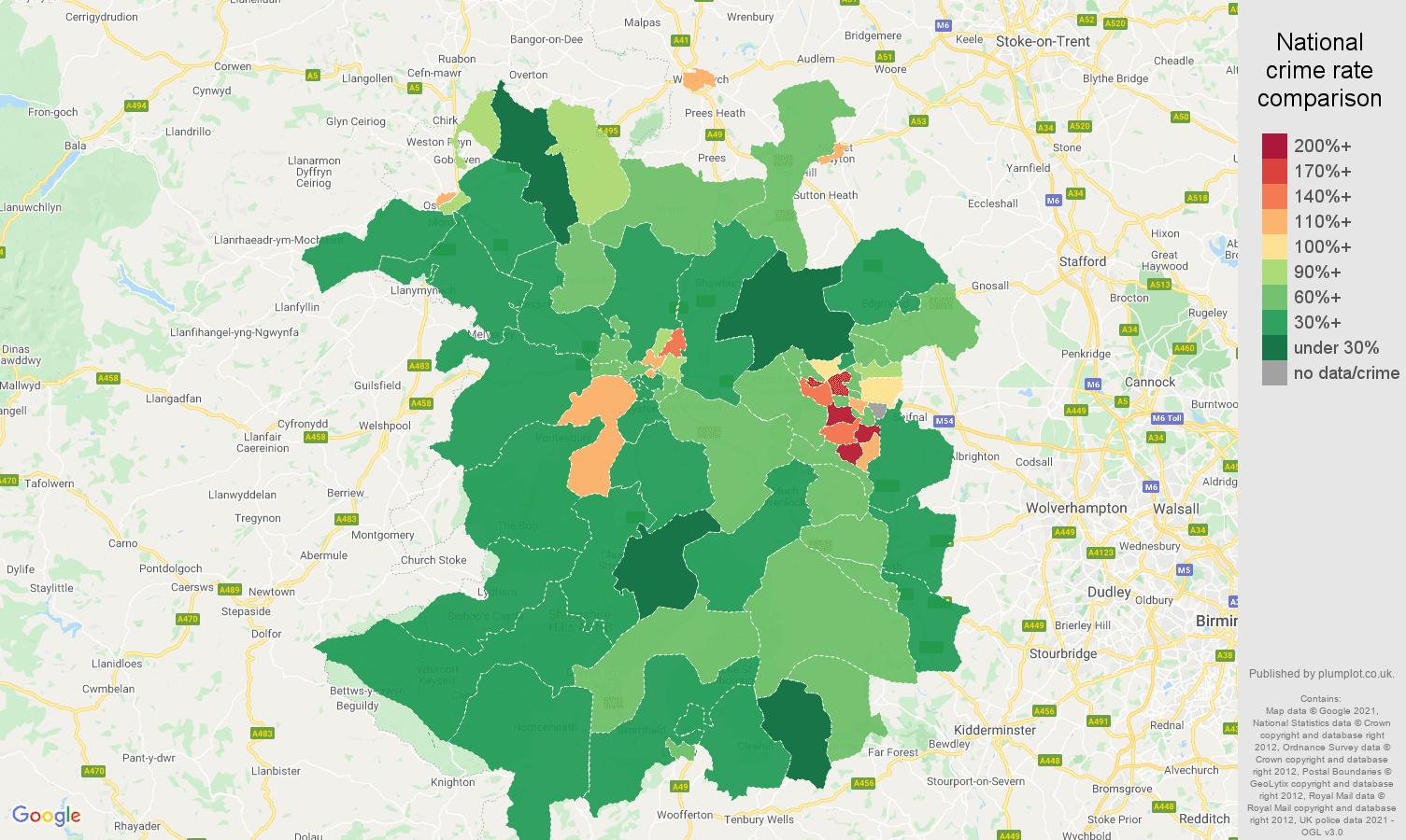 Shropshire violent crime rate comparison map