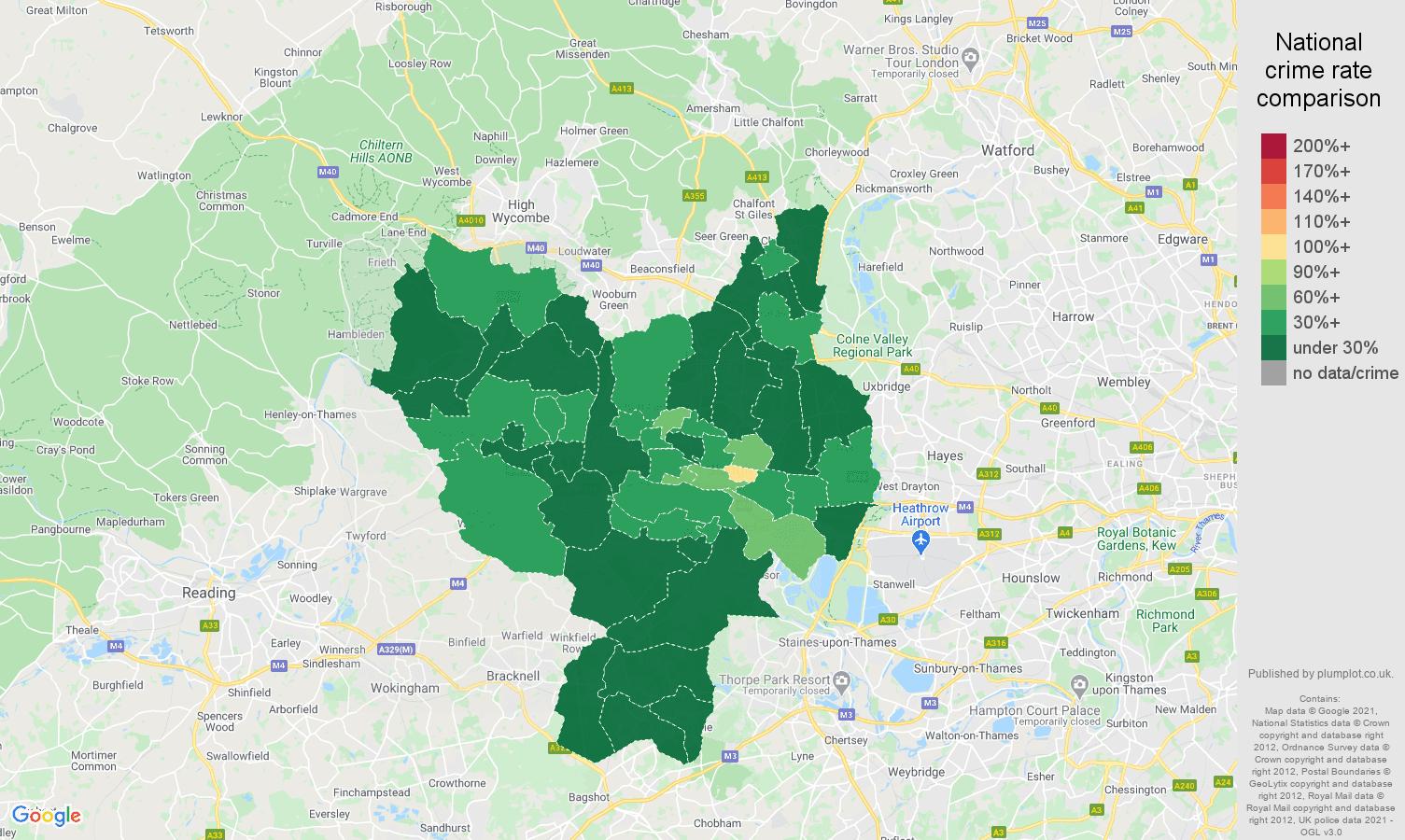 Slough antisocial behaviour crime rate comparison map