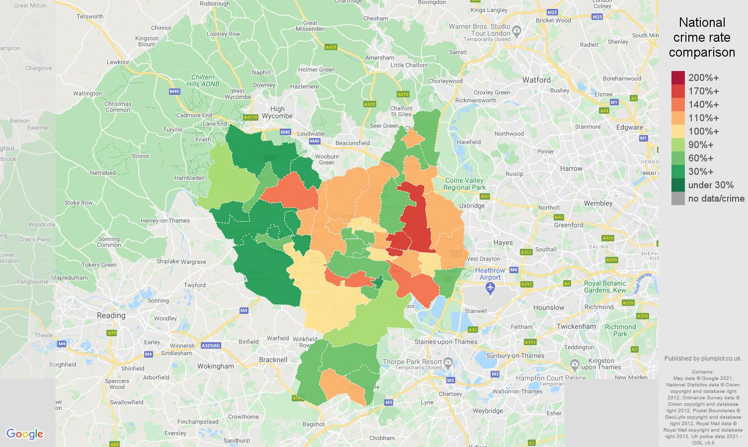 Slough burglary crime rate comparison map