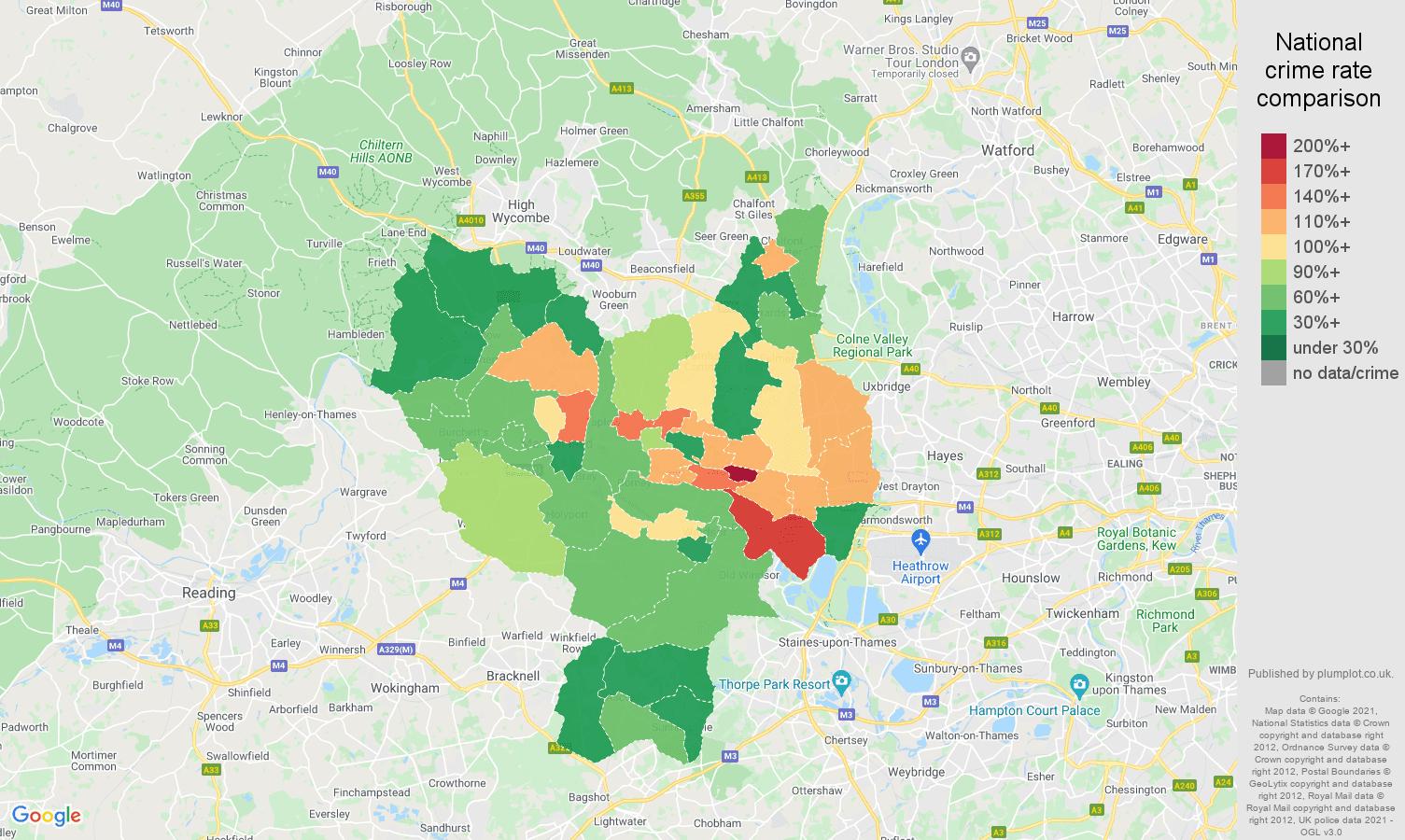 Slough criminal damage and arson crime rate comparison map