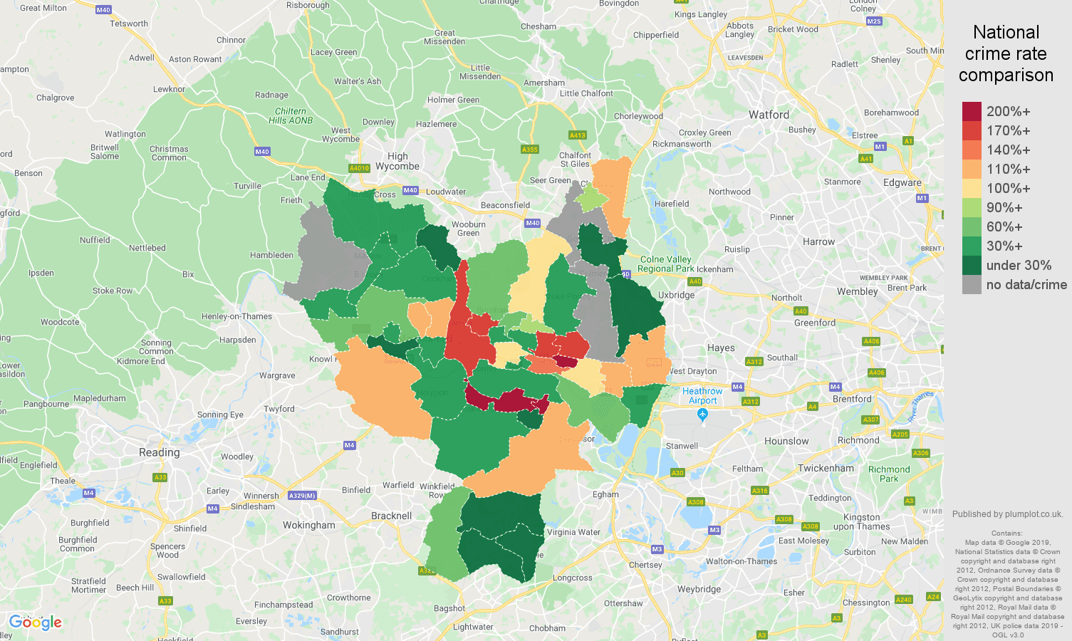 Slough possession of weapons crime rate comparison map