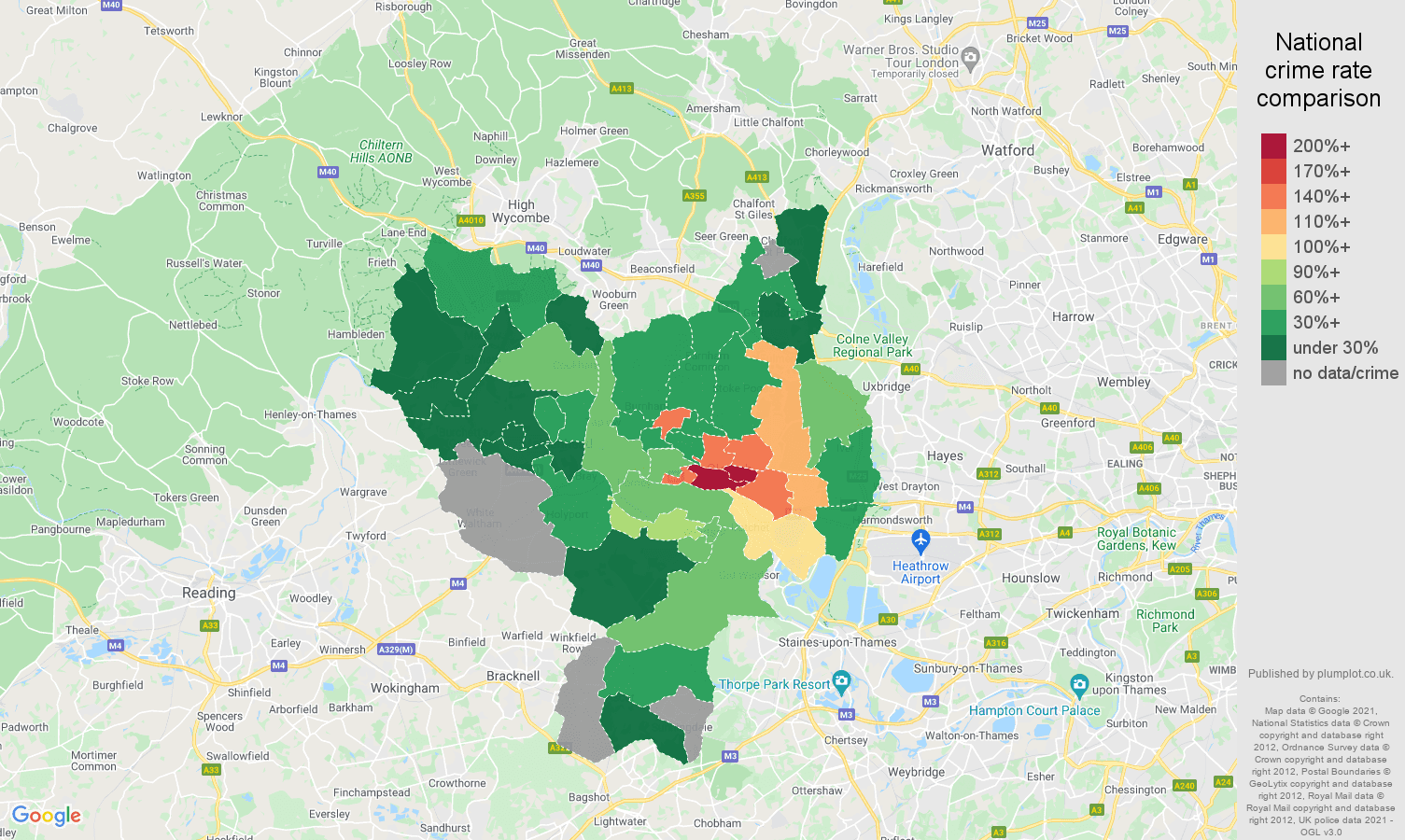 Slough robbery crime rate comparison map
