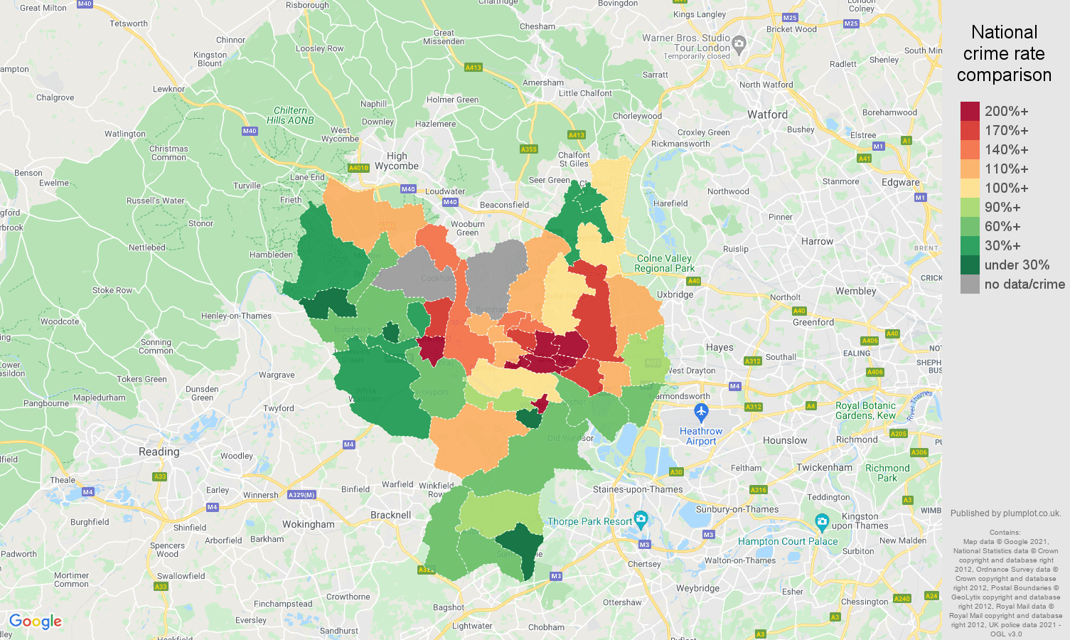 Slough theft from the person crime rate comparison map