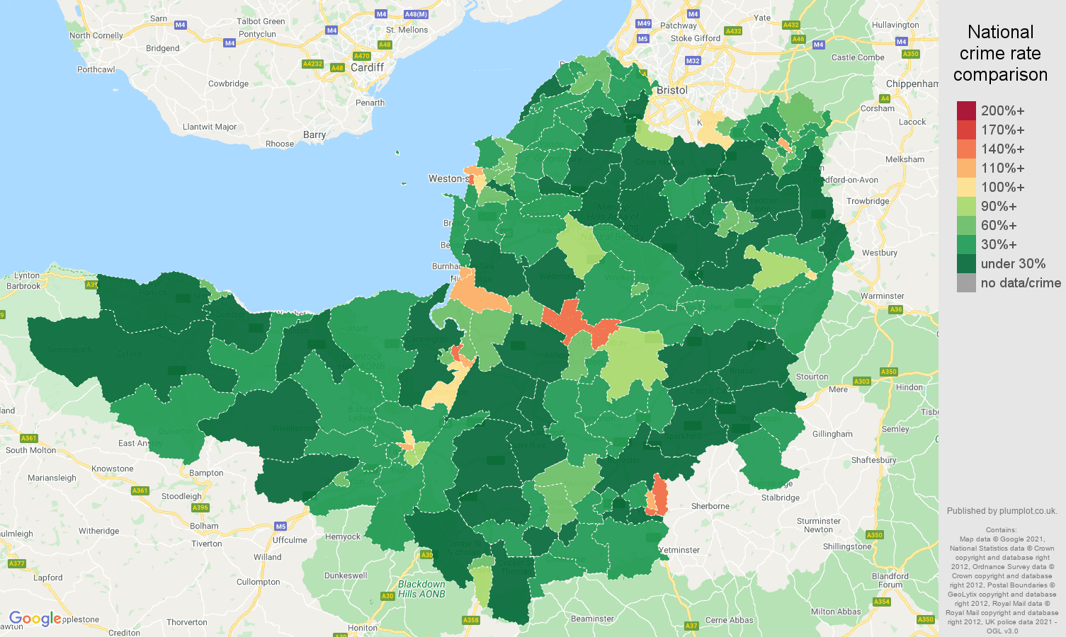 Somerset antisocial behaviour crime rate comparison map