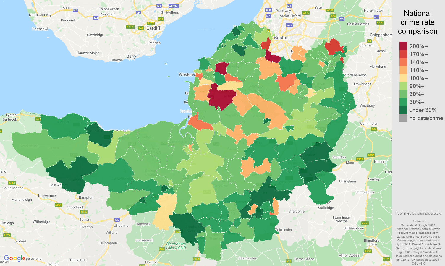 Somerset burglary crime rate comparison map