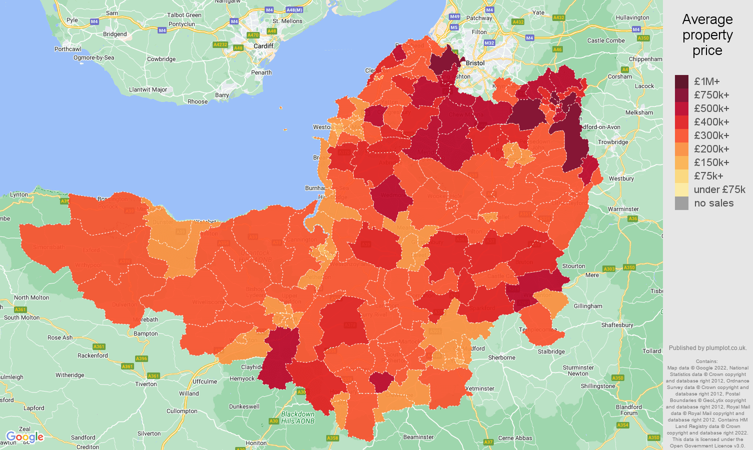 Somerset house prices map