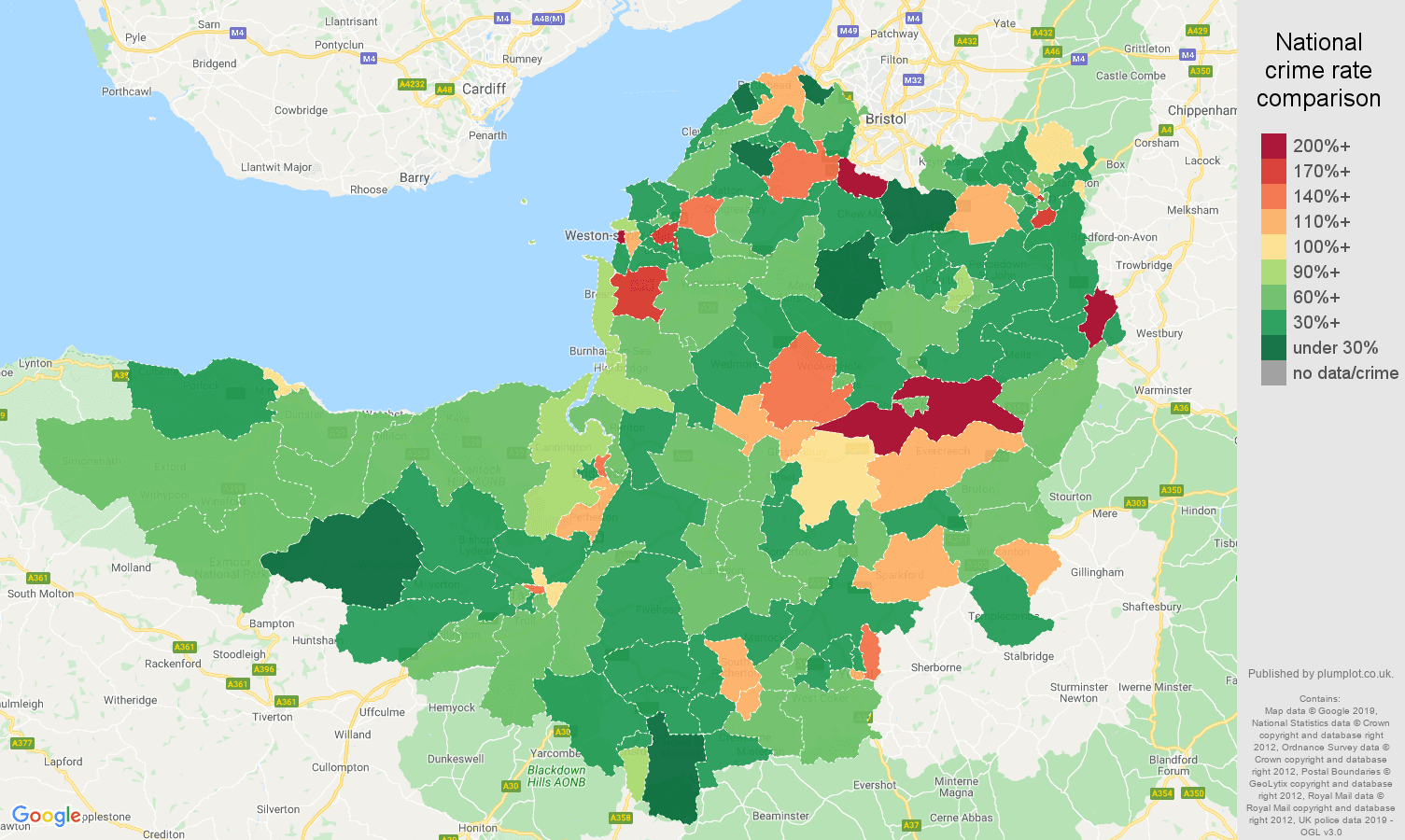 Somerset other theft crime rate comparison map