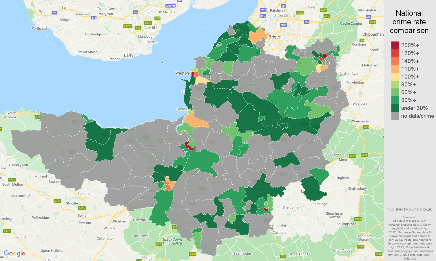 Somerset robbery crime rate comparison map