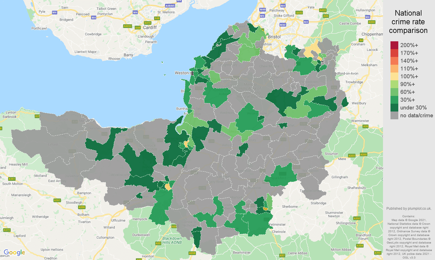 Somerset theft from the person crime rate comparison map
