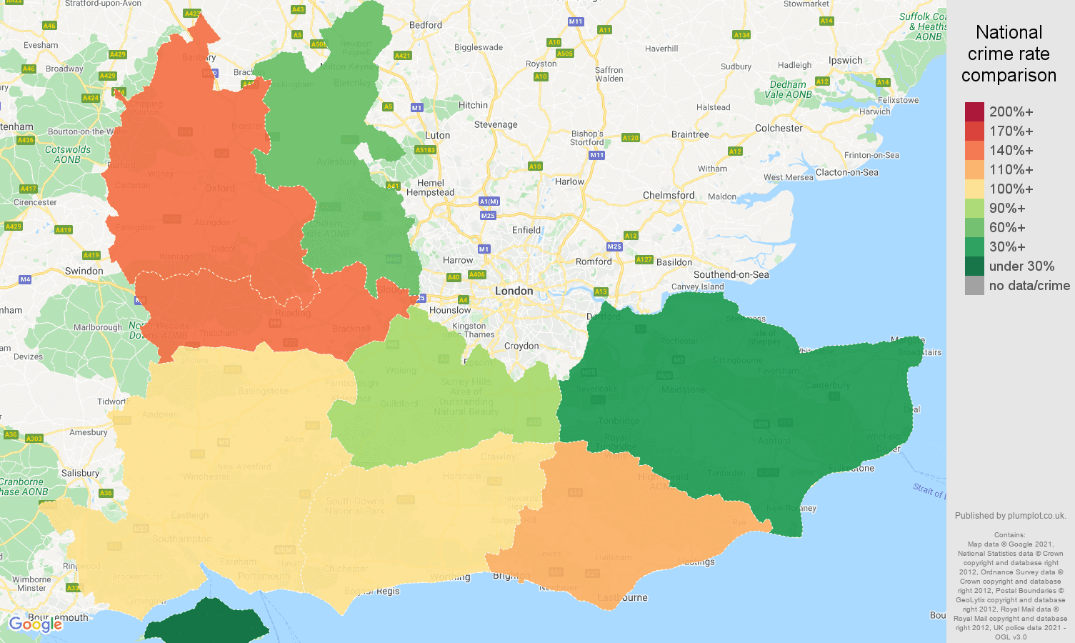 South East bicycle theft crime rate comparison map