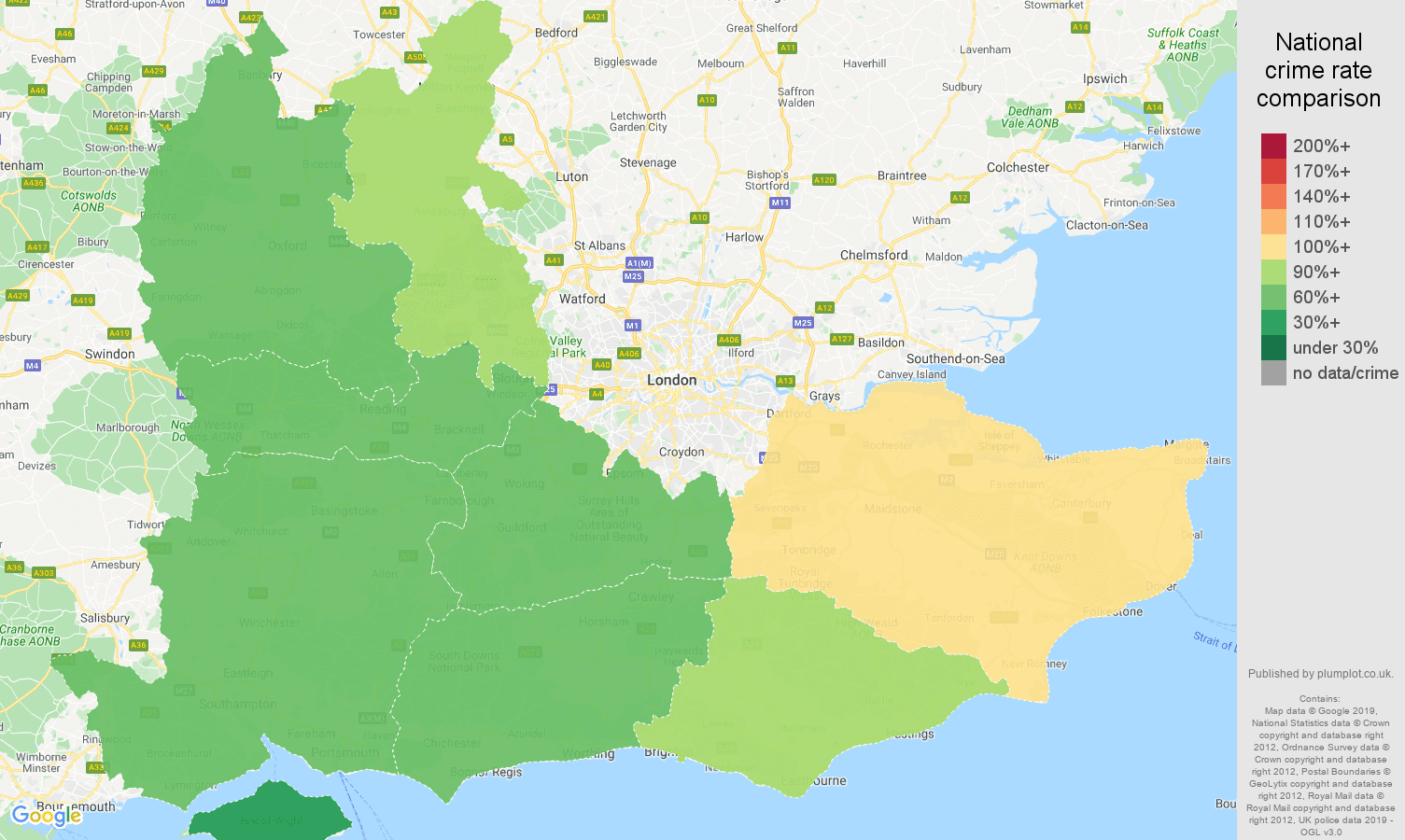 South East other theft crime rate comparison map