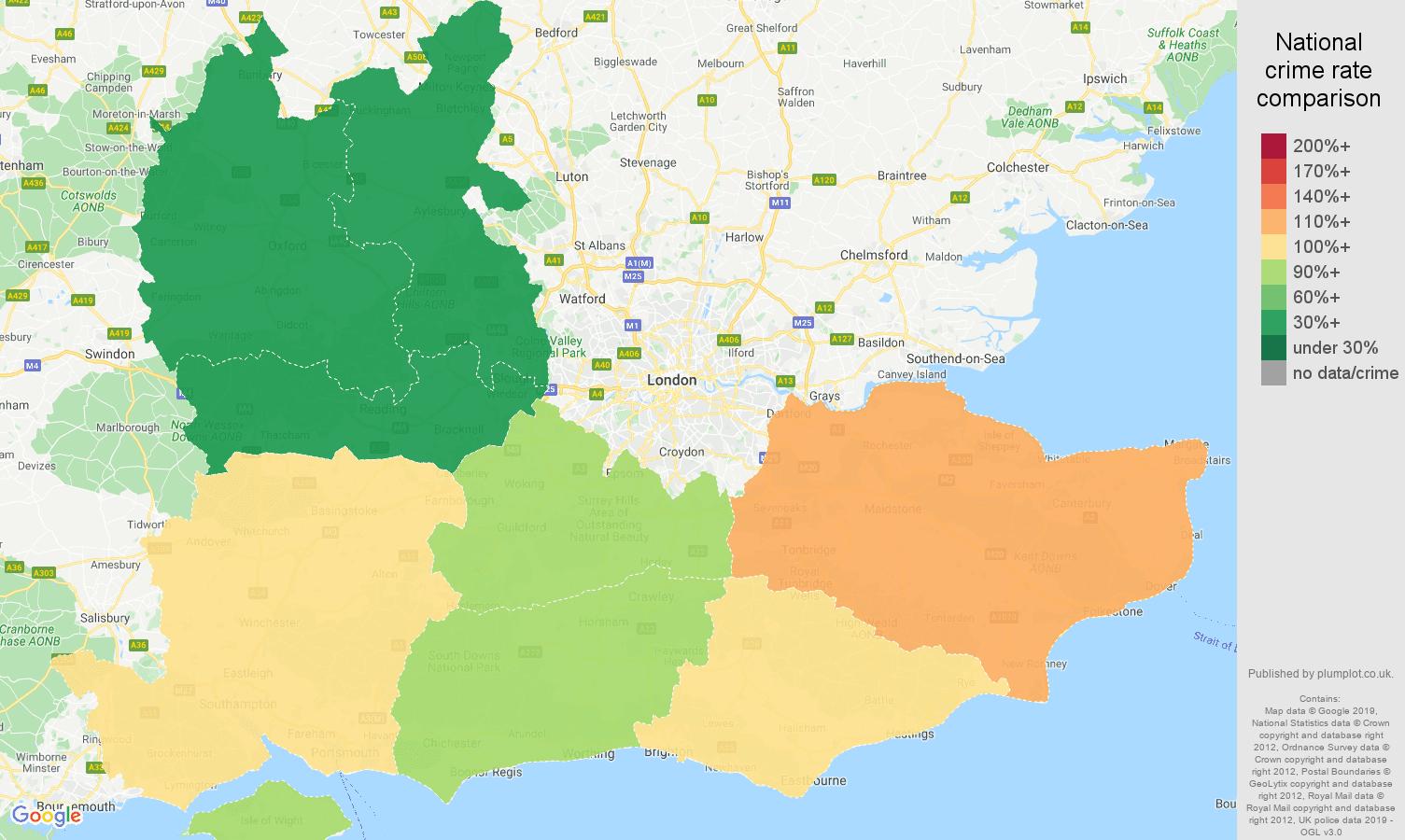 South East public order crime rate comparison map