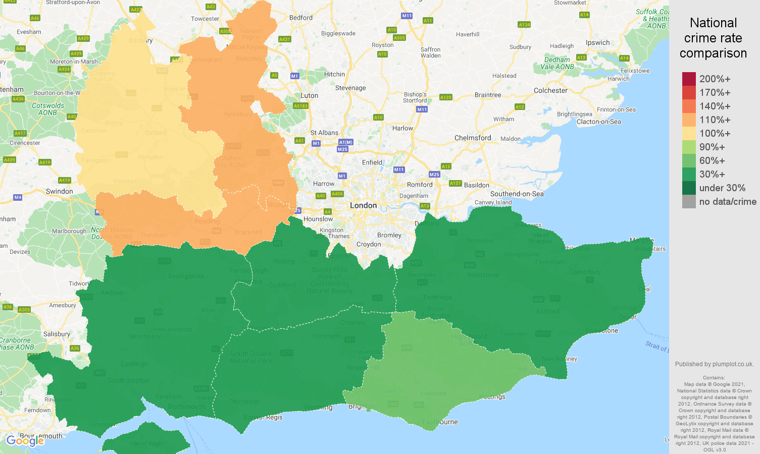 South East theft from the person crime rate comparison map