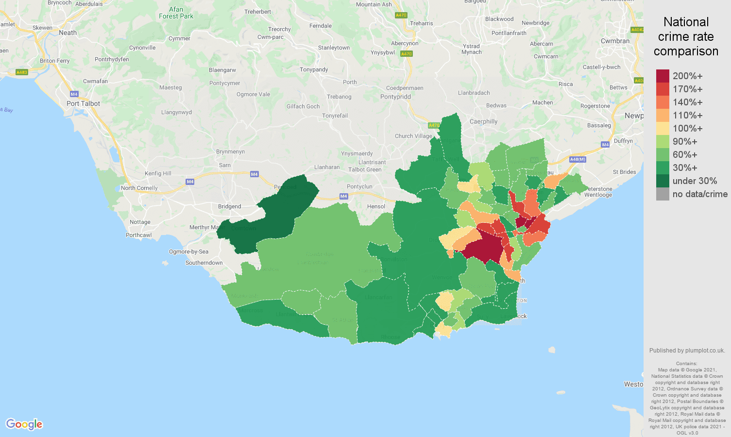 South Glamorgan burglary crime rate comparison map