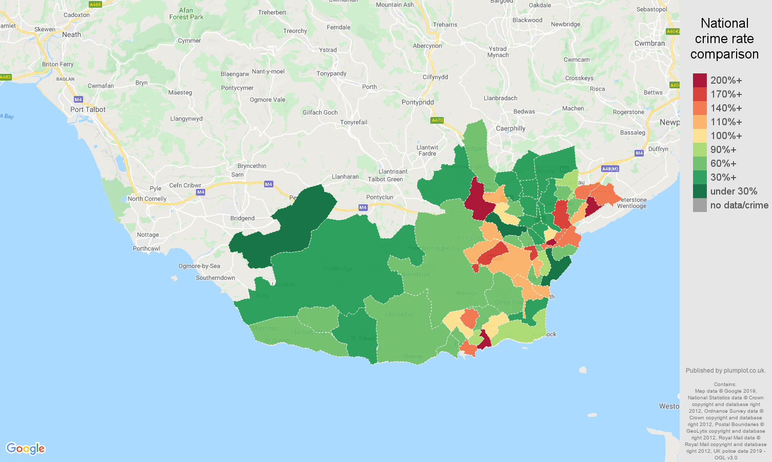 South Glamorgan other crime rate comparison map