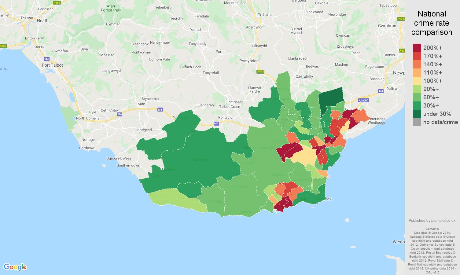 South Glamorgan public order crime rate comparison map