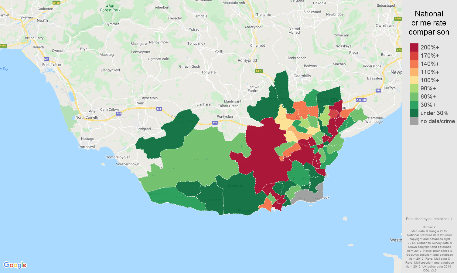 South Glamorgan shoplifting crime rate comparison map