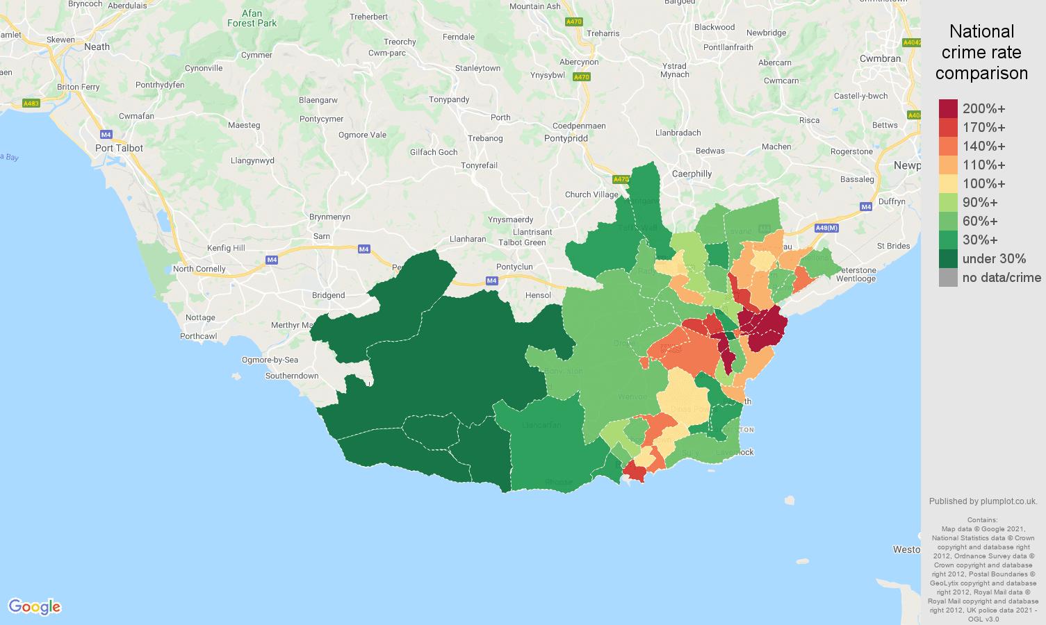 South Glamorgan vehicle crime rate comparison map