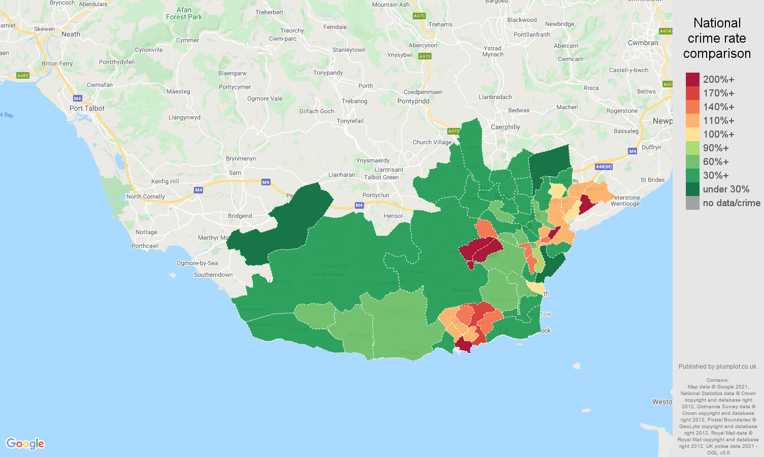 South Glamorgan violent crime rate comparison map