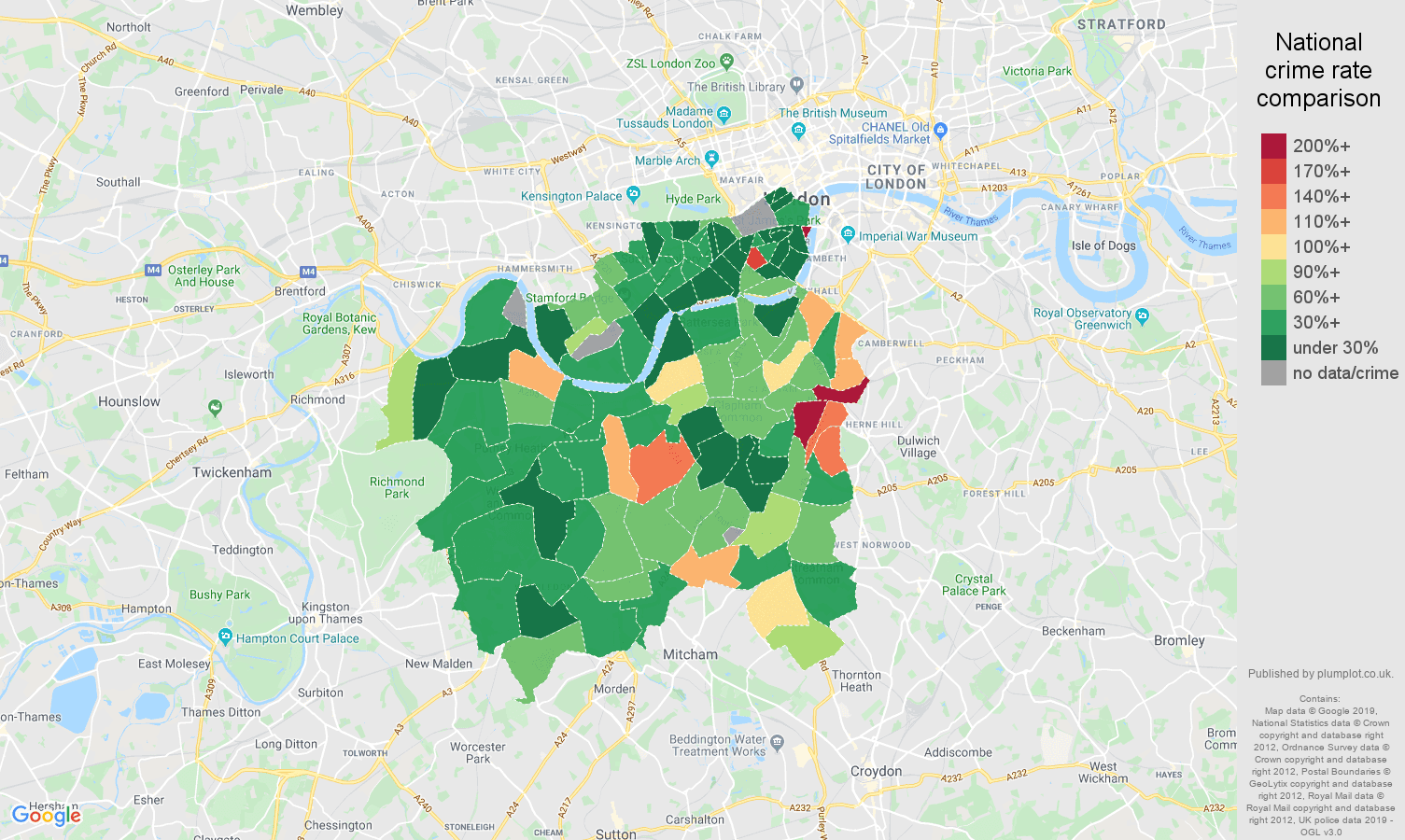 South West London other crime rate comparison map