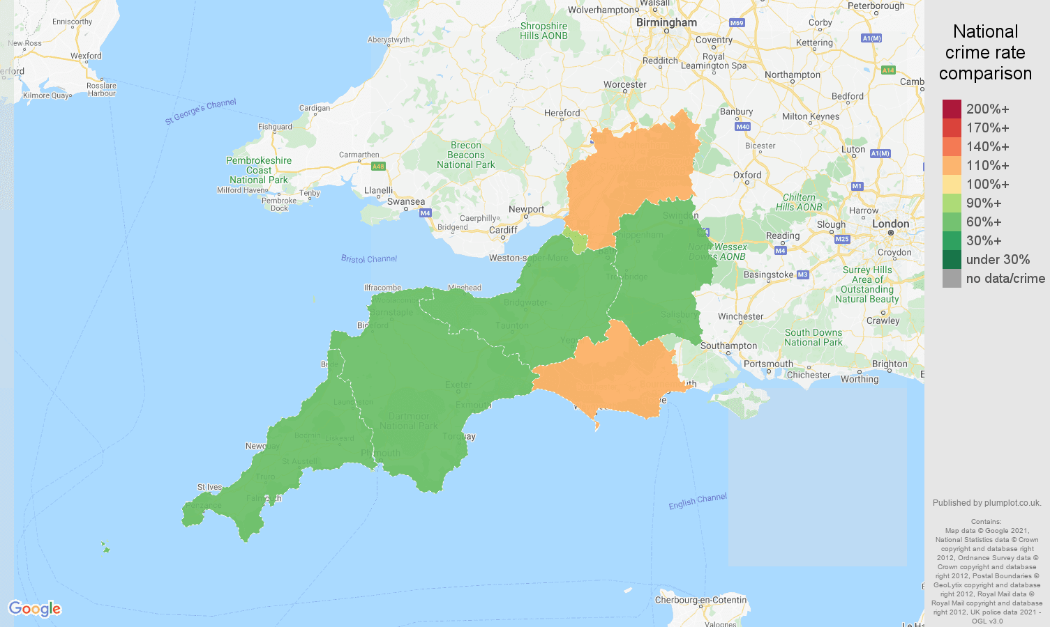 South West antisocial behaviour crime rate comparison map