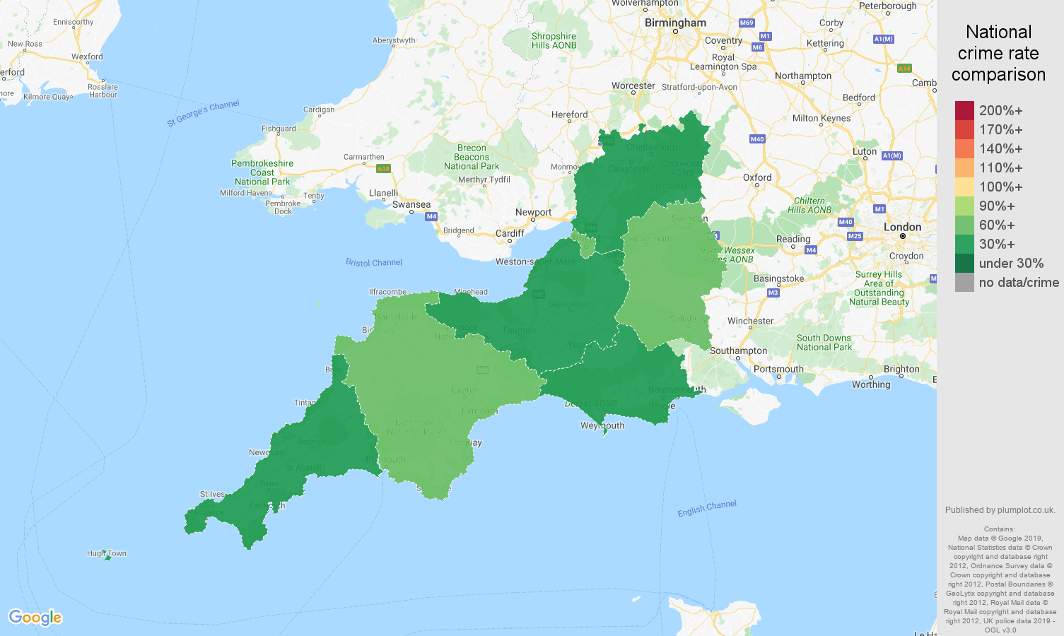 South West other crime rate comparison map