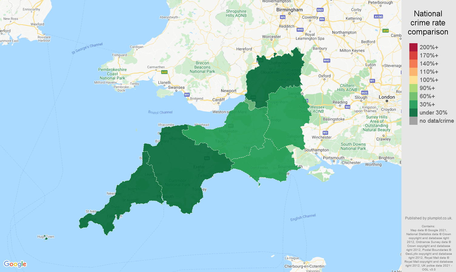 South West theft from the person crime rate comparison map