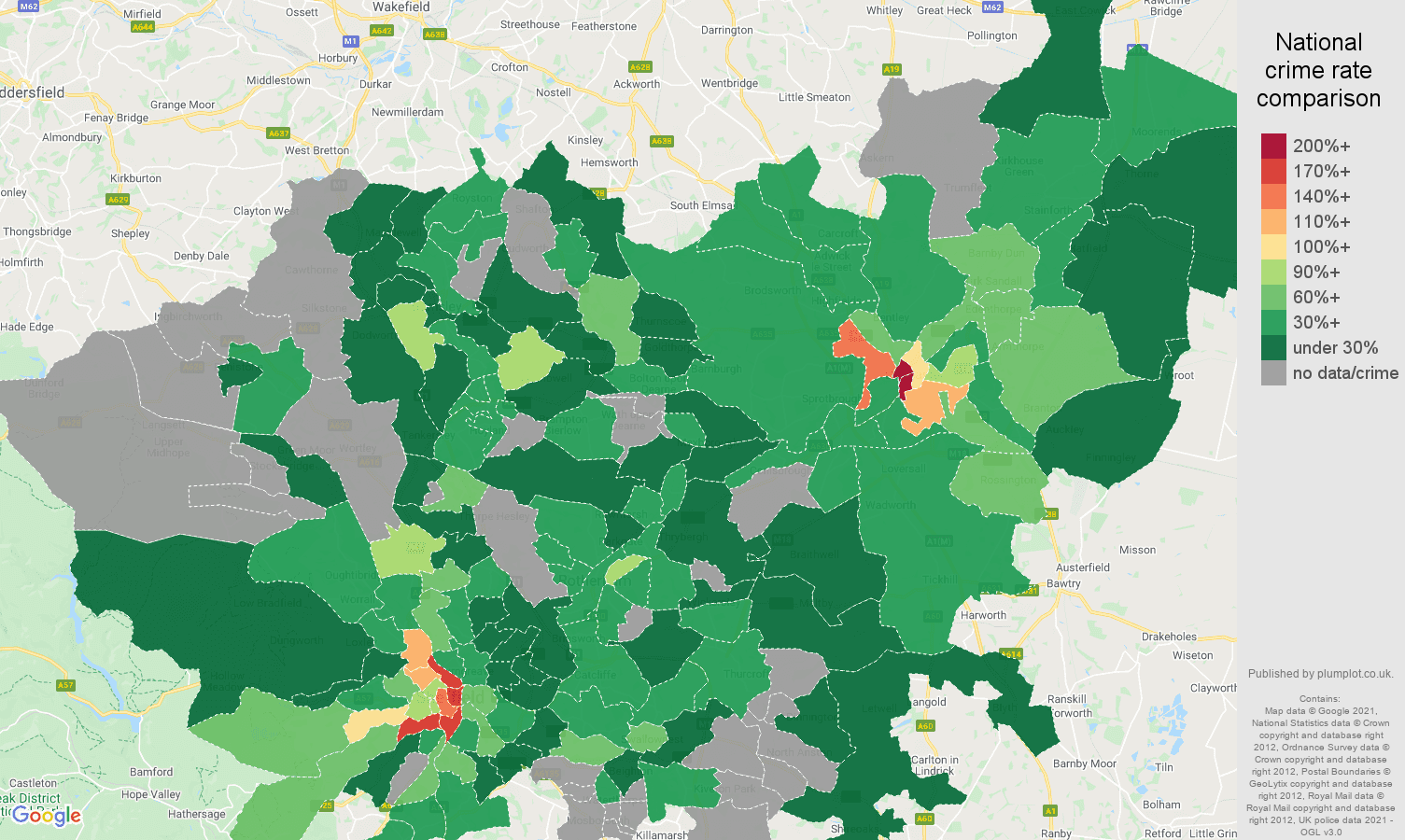 South Yorkshire bicycle theft crime rate comparison map