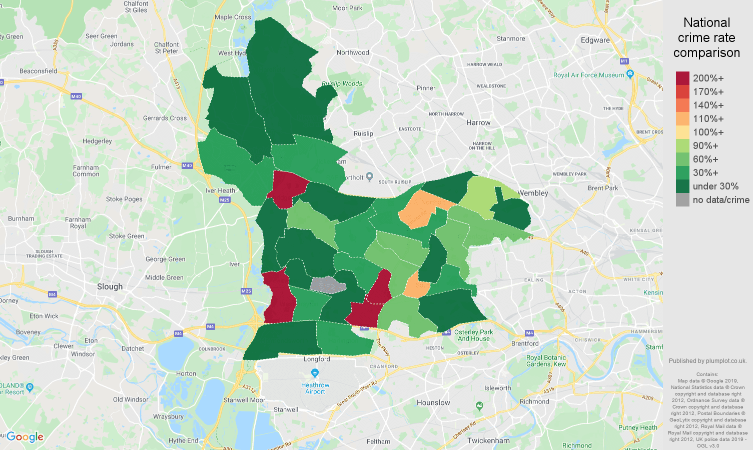 Southall shoplifting crime rate comparison map