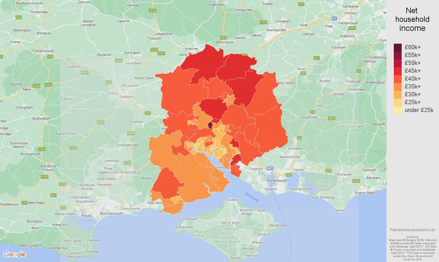 Southampton net household income map