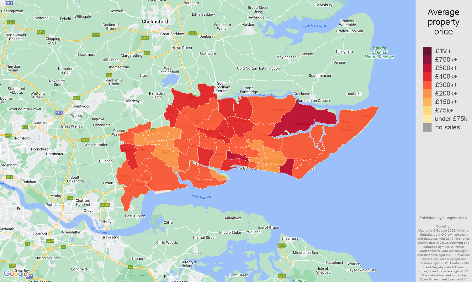 Southend on Sea house prices map