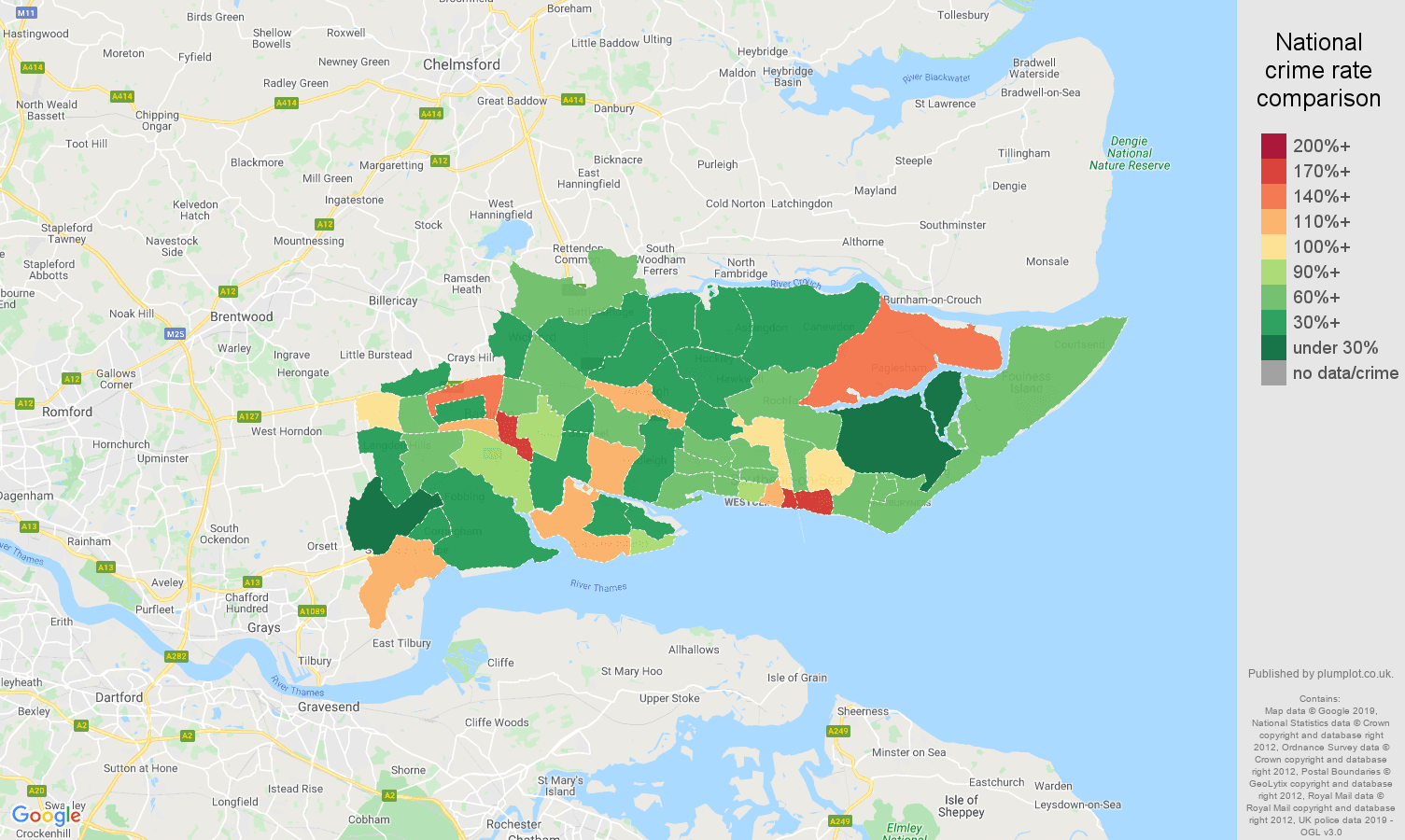 Southend on Sea other theft crime rate comparison map