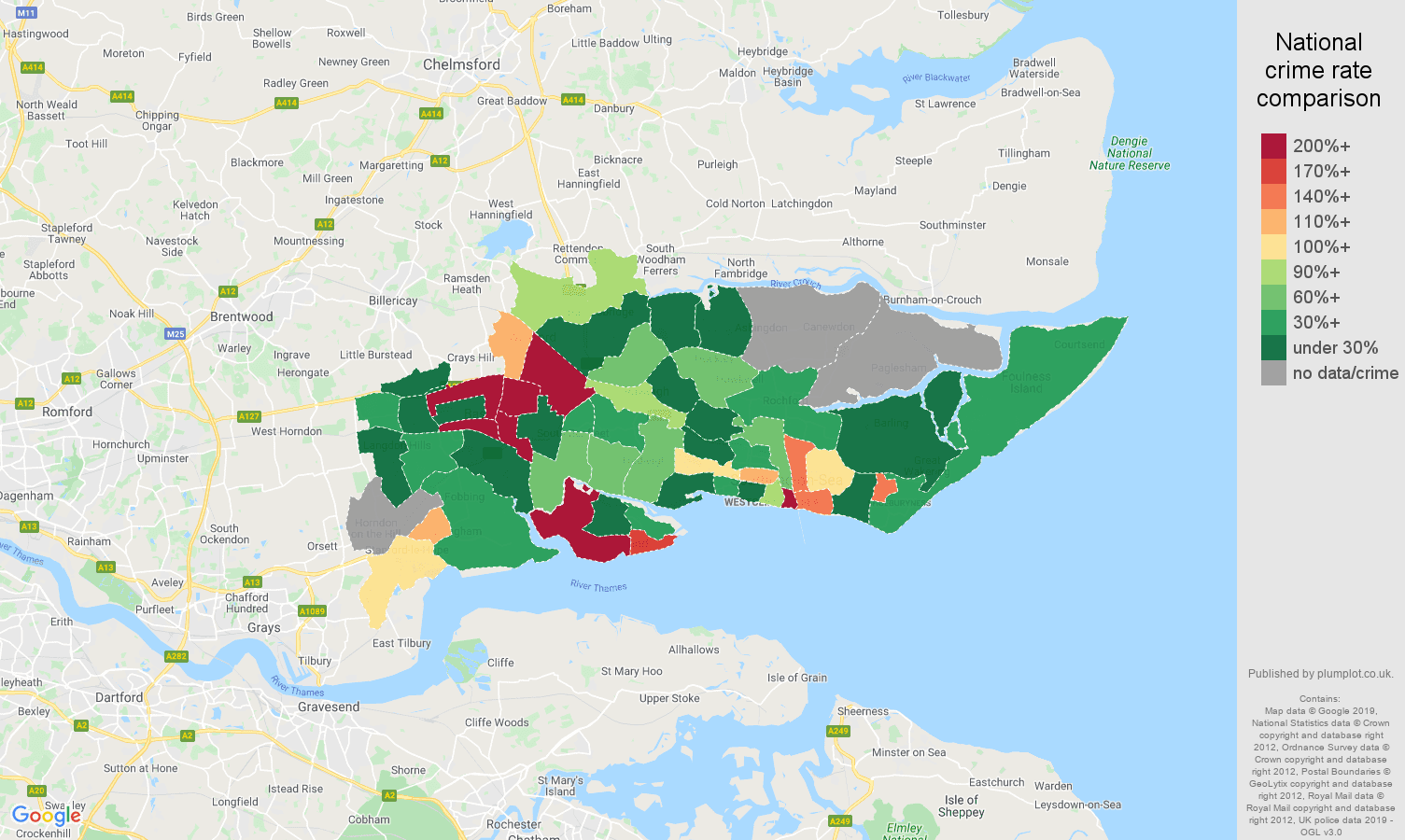 Southend on Sea shoplifting crime rate comparison map