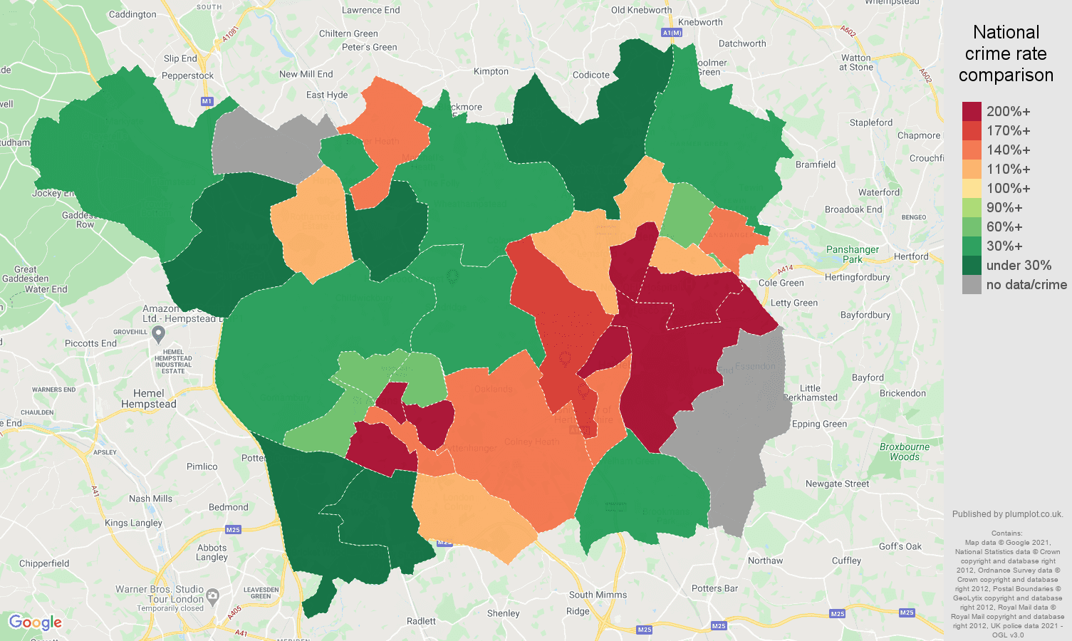 St Albans bicycle theft crime rate comparison map
