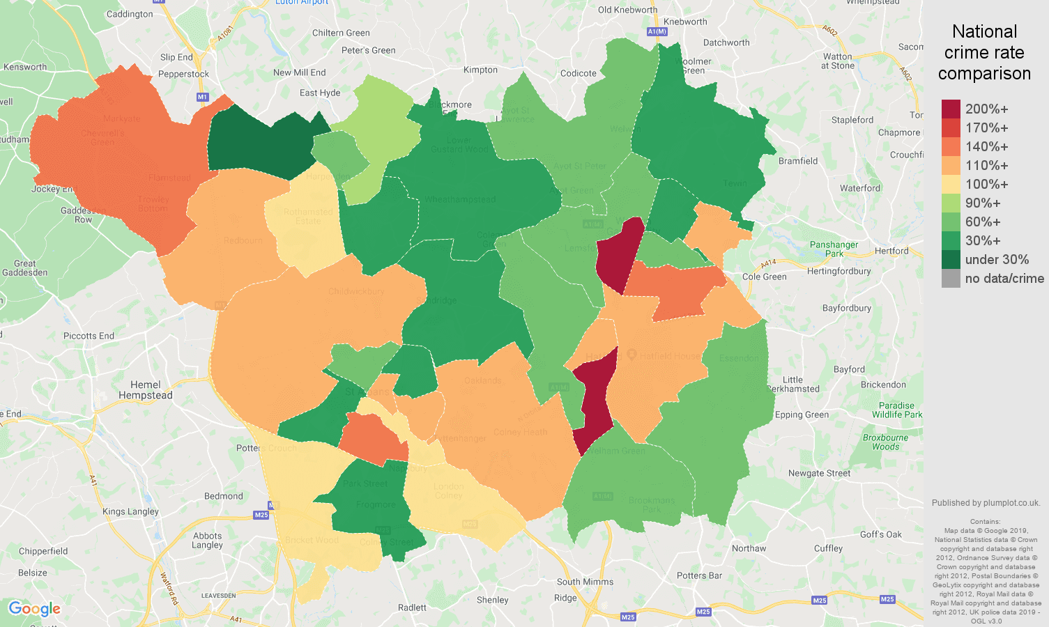 St Albans other crime rate comparison map