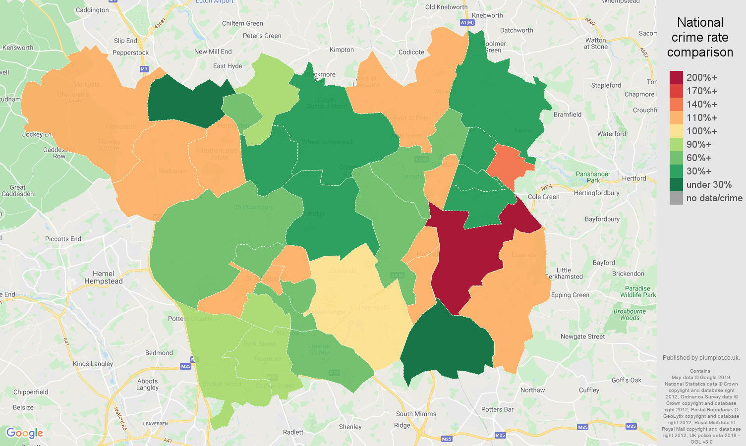 St Albans other theft crime rate comparison map
