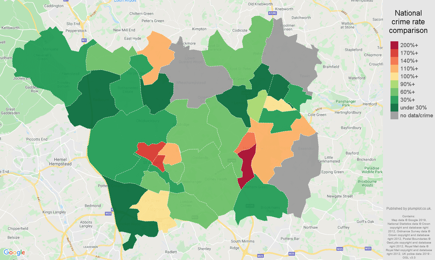 St Albans possession of weapons crime rate comparison map
