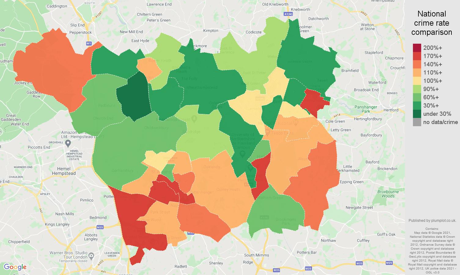 St Albans vehicle crime rate comparison map
