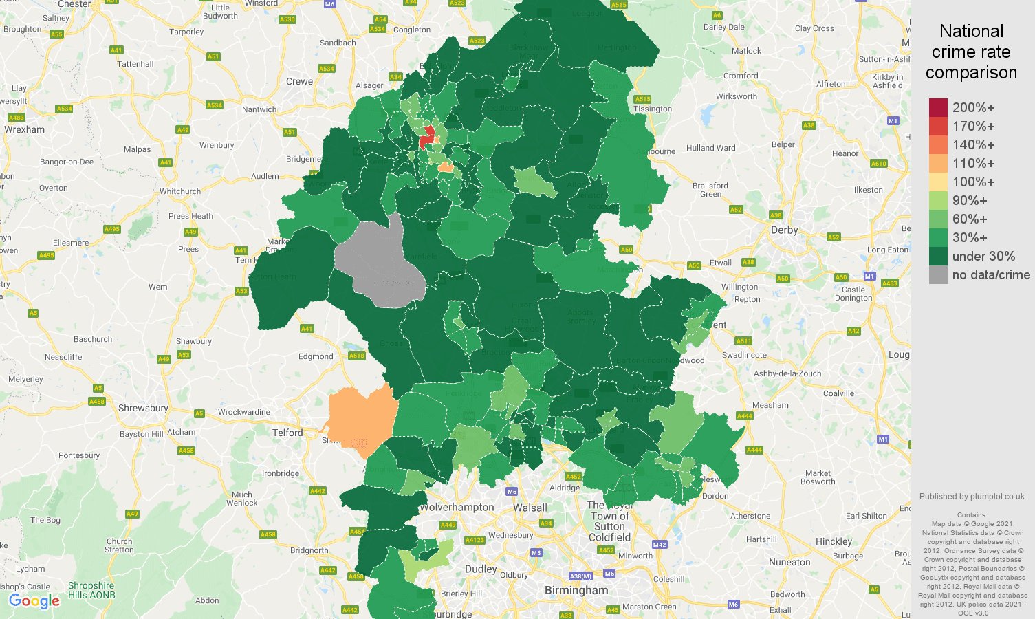 Staffordshire drugs crime rate comparison map