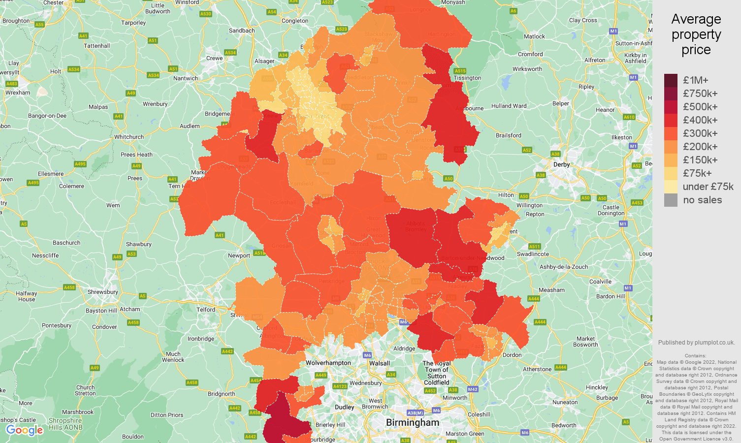 Staffordshire house prices map